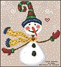 Grille point de croix Bonhomme de neige avec écharpe