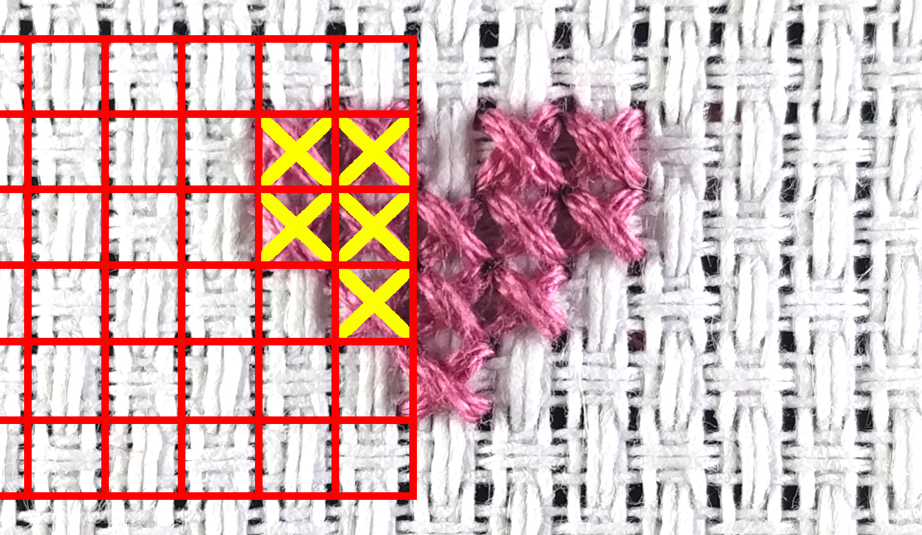 image of fabric showing grid and stitches in a simple design