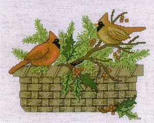 Cardinal Basket - Cross Stitch Pattern