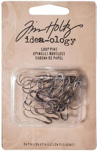 "Antique Nickel, Brass & Copper Metal Loop Pins 1"" 24/Pk"