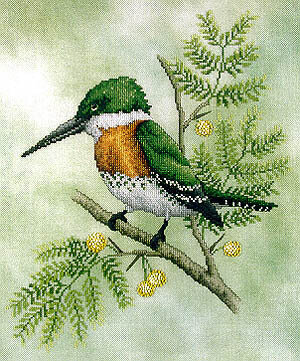 Green Kingfisher - Cross Stitch Pattern