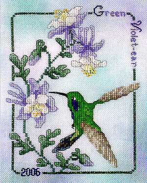 Green Violet-Ear Hummingbird 26 - Cross Stitch Pattern