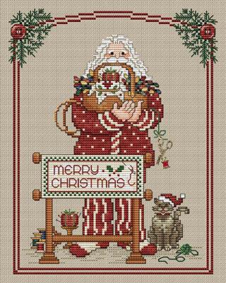 White Willow Stitching VINTAGE SANTA Cross Stitch Pattern Christmas Cross Stitch