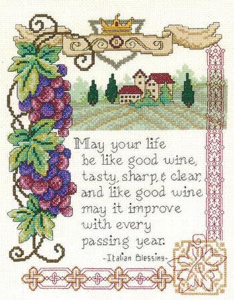 Imaginating Italian Blessing Cross Stitch Pattern