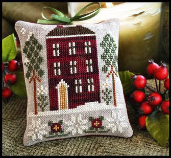 Ornament 6 - Red House In Winter - Cross Stitch Pattern