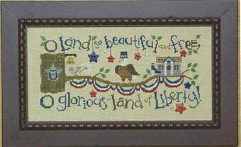 Patriotic Branch - White Bird House - Cross Stitch Pattern
