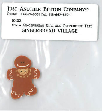 Gingerbread Girl & Peppermint Tree - Button
