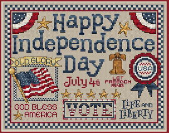 Happy Independence Day - Cross Stitch Pattern