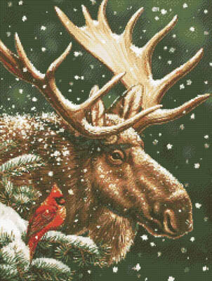 Moose and Cardinal - Cross Stitch Pattern