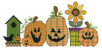 Fabric Pumpkins - Cross Stitch Pattern
