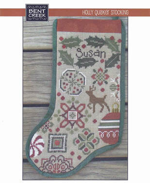 Holly Quaker Stocking - Cross Stitch Pattern