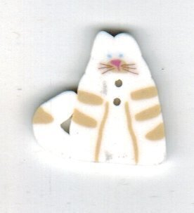 Small White Cat - Button