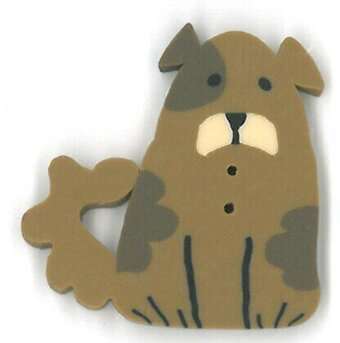 Small Brown Dog - Button