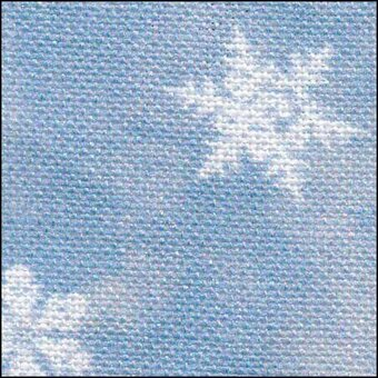 28 Count Blue Snowflakes on Silver Linen Fabric 35x38