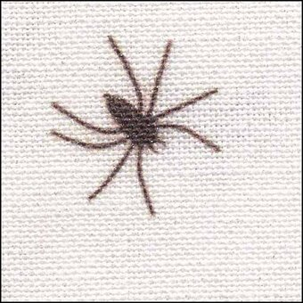 28 Count Black Spiders On White/Silver Linen Fabric 8x17