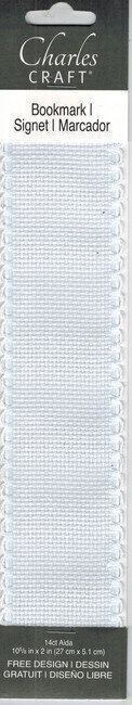 Bookmark - White Aida with Scallop Edge