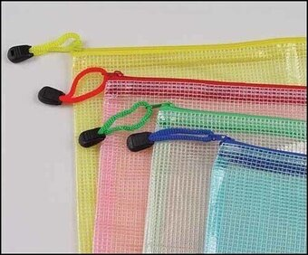 "9"" x 13"" Mesh Zipper Storage Bag Assorted Colors"