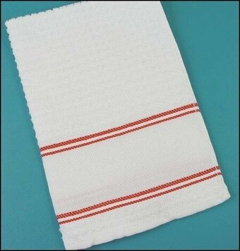 Nancy Kitchen Towel White With Red Trim. Nubby Popcorn Terry Kitchen Towels  Are Brightly Accented With A Double Stripe Of Color Above And Below The ...