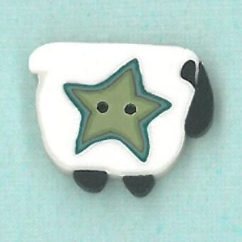 Wooly Star Sheep Button