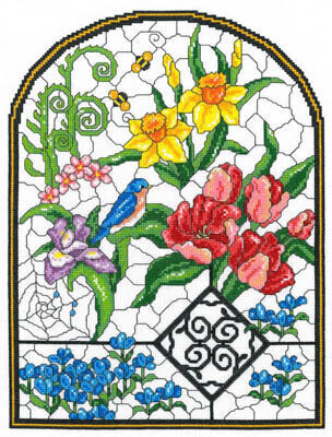 Spring Stained Glass - Cross Stitch Pattern