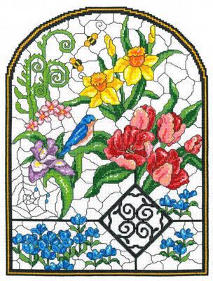 pretty stitchery /& pieced PATTERN Wildflowers Under Glass CLEARANCE