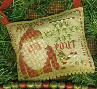 You Better Not Pout - (With Teddy Bear Charm) Cross Stitch