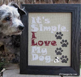 I Love My Dog - Cross Stitch Pattern