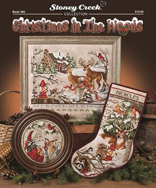 Christmas in the Woods - Cross Stitch Pattern by Stoney Creek Includes Winter Wonderland Stocking - stitched on 28 Ct. Sand Castle Jobelan.