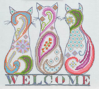 Paisley Cat Welcome - Cross Stitch Pattern