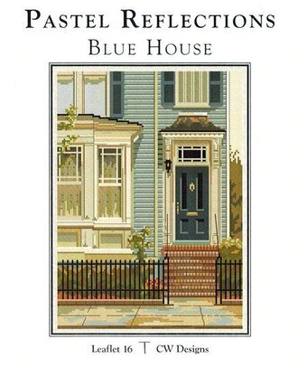 Pastel Reflections Blue House - Cross Stitch Pattern