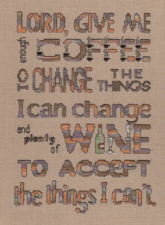 Enough Coffee - Plenty of Wine - Cross Stitch Pattern