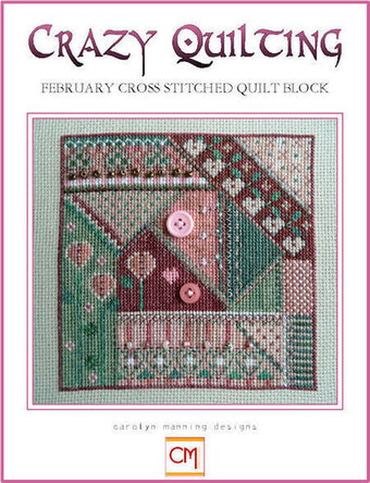 Crazy Quilting February Cross Stitched Quilt Block