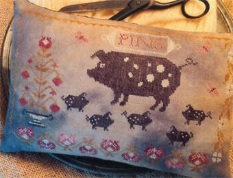 Spotted Pigs Pinkeep - Cross Stitch Pattern
