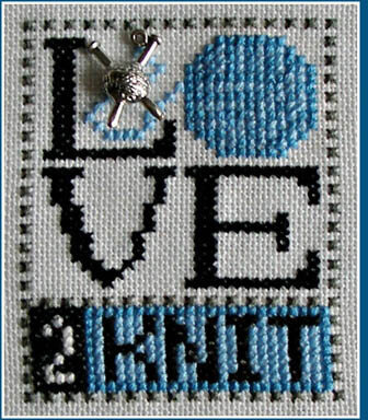 Love 2 Knit (w/charm) Cross Stitch Pattern