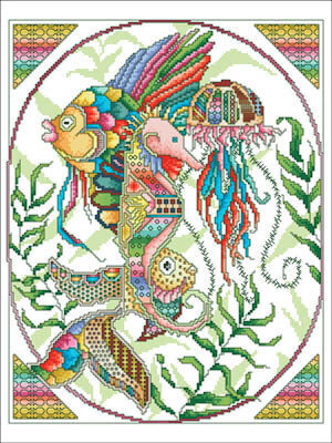 Technicolor Ocean Life - Cross Stitch Pattern
