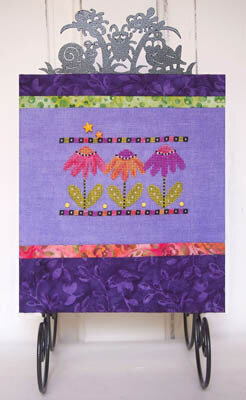 Katydids & Coneflowers (with buttons) - Cross Stitch Pattern