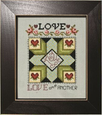 Love - Laurel Wreath Quilt Block - Cross Stitch Pattern