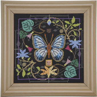 Butterfly in Bloom - Large Green Banded Blue - Cross Stitch