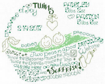 Let's Love Twins - Cross Stitch Pattern