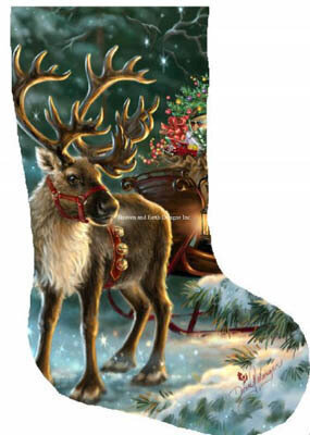 Enchanted Christmas Reindeer Stocking - Cross Stitch Pattern
