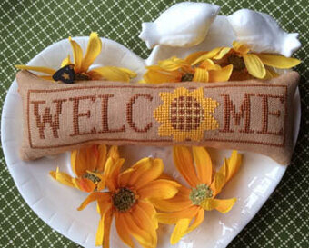 August Sunflower - Wee Welcome - Cross Stitch Pattern
