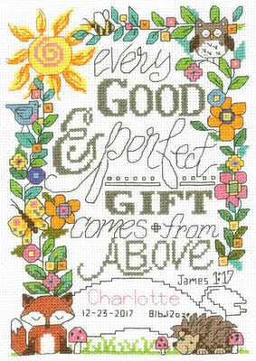 Design Works Nursery Decor Cross Stitch 2 Kits: Baby Quilt and Birth Announcement with 2 Gift Cards Gift from Heaven Woodland Animals