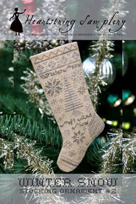 Winter Snow Stocking Ornament #2 - Cross Stitch Pattern