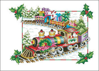 Floral Renaissance - Holiday Train - Cross Stitch Pattern