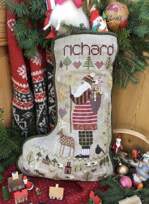 richards stocking cross stitch pattern by shepherds bush model stitched over 2 threads on 18 ct natural linen with dmc 5 pearl cotton and weeks dye - Cross Stitch Christmas Stocking Kits