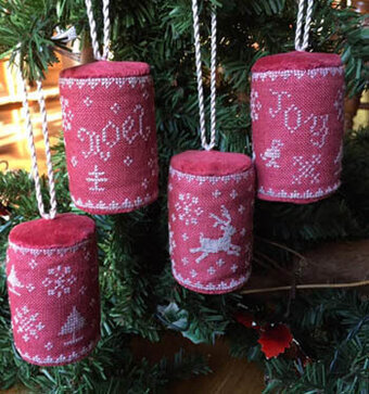 Mini Drum Christmas Ornaments - Cross Stitch Pattern