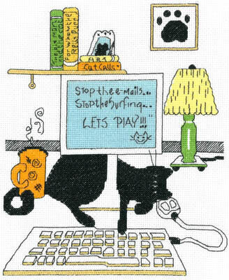Computer Cat - Cross Stitch Pattern