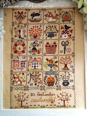 Shabby Autumn Calendar - Cross Stitch Pattern