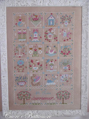 Shabby Summer Calendar - Cross Stitch Pattern
