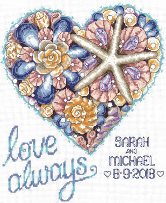 Seashell Wedding Heart - Cross Stitch Pattern